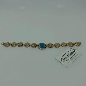 Gold Tone Turquoise Enamel Bracelet